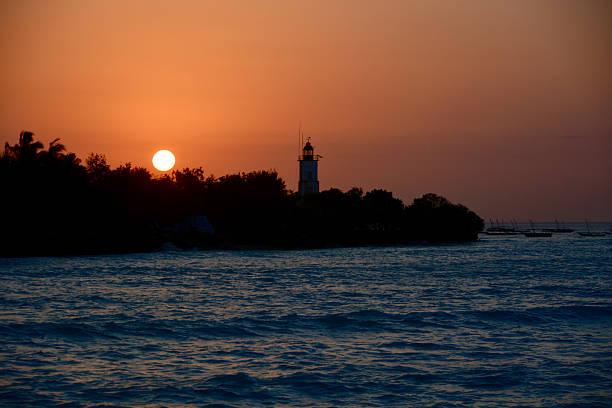 lighthouse Sunset stock photo