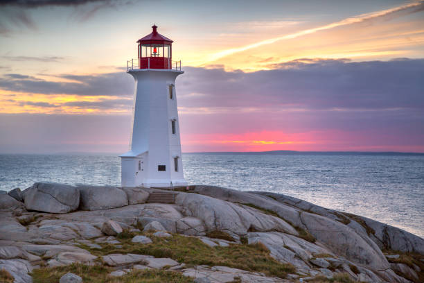 Lighthouse Sunset Sunset behind the lighthouse at Peggy's Cove near Halifax, Nova Scotia Canada. beacon stock pictures, royalty-free photos & images
