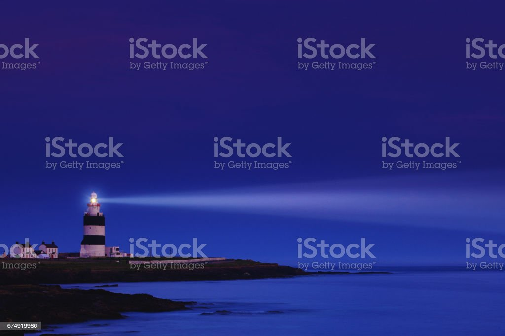 Lighthouse the night - Hook Head in County Wexford, Ireland royalty-free stock photo