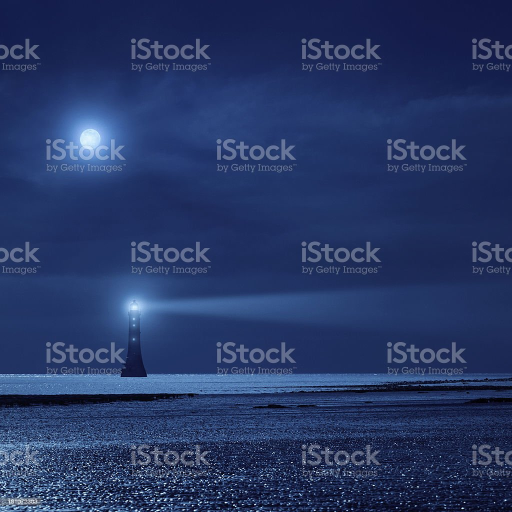 lighthouse the night royalty-free stock photo