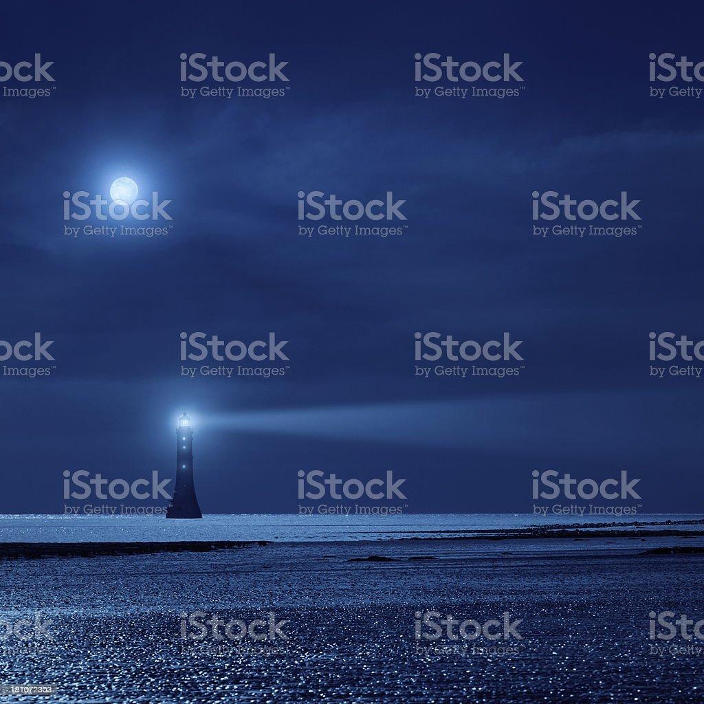 lighthouse the night stock photo