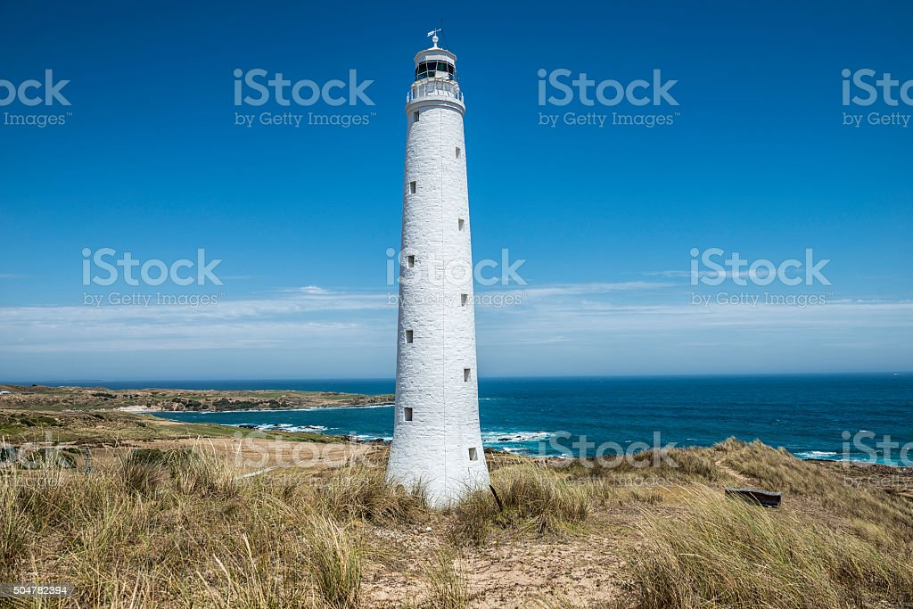 Lighthouse Wickham Point King Island Tasmania stock photo