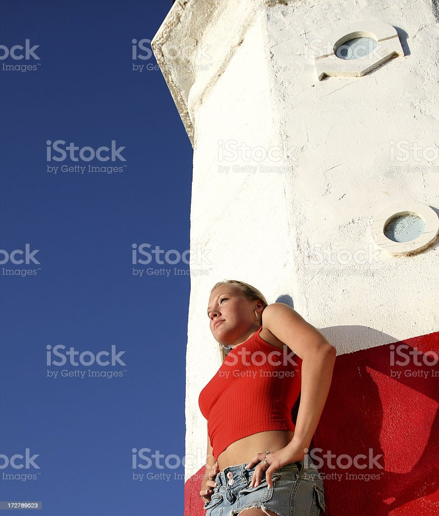 Lighthouse with Attitude stock photo