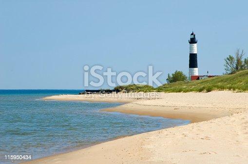 177362898 istock photo Lighthouse with Beach Coastline, Michigan Shore Great Lakes 115950434