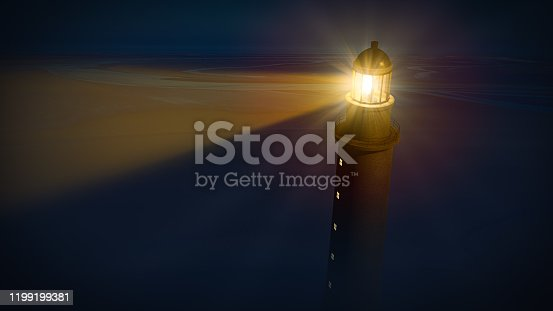 Lighthouse with beam of shining light in the blue dark night. 3D illustration.