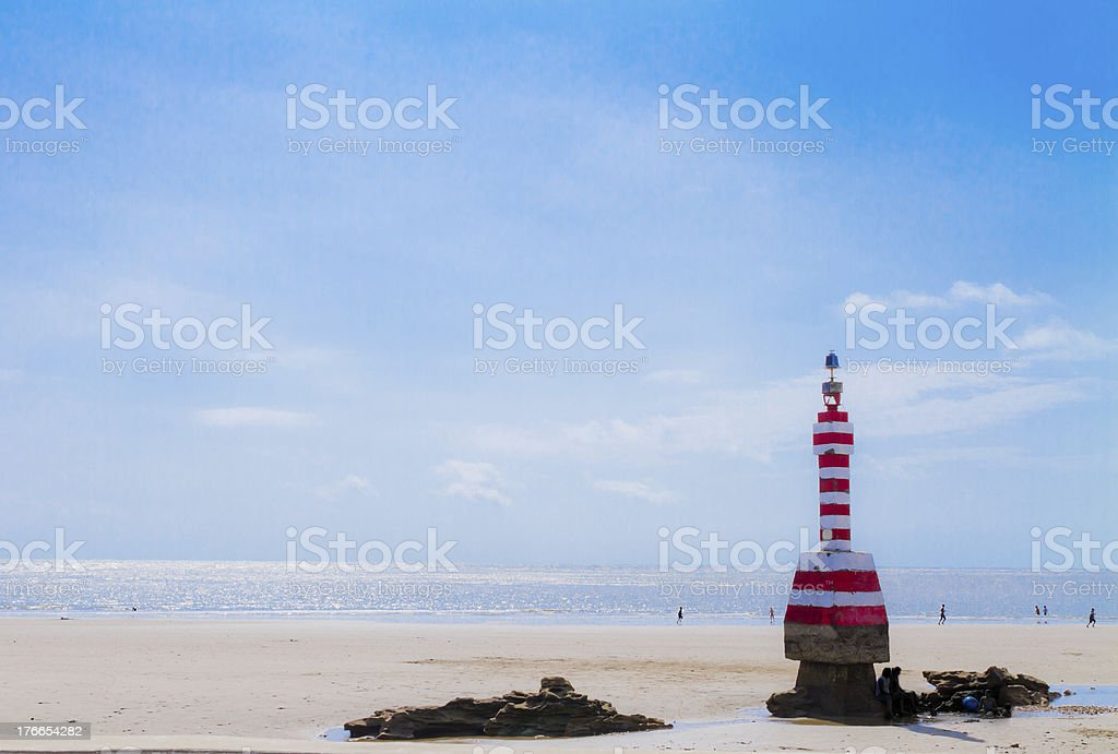 Lighthouse  with blue sky background. Ecuador royalty-free stock photo