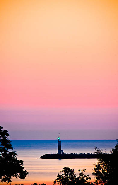 Lighthouse with Colorful Background stock photo