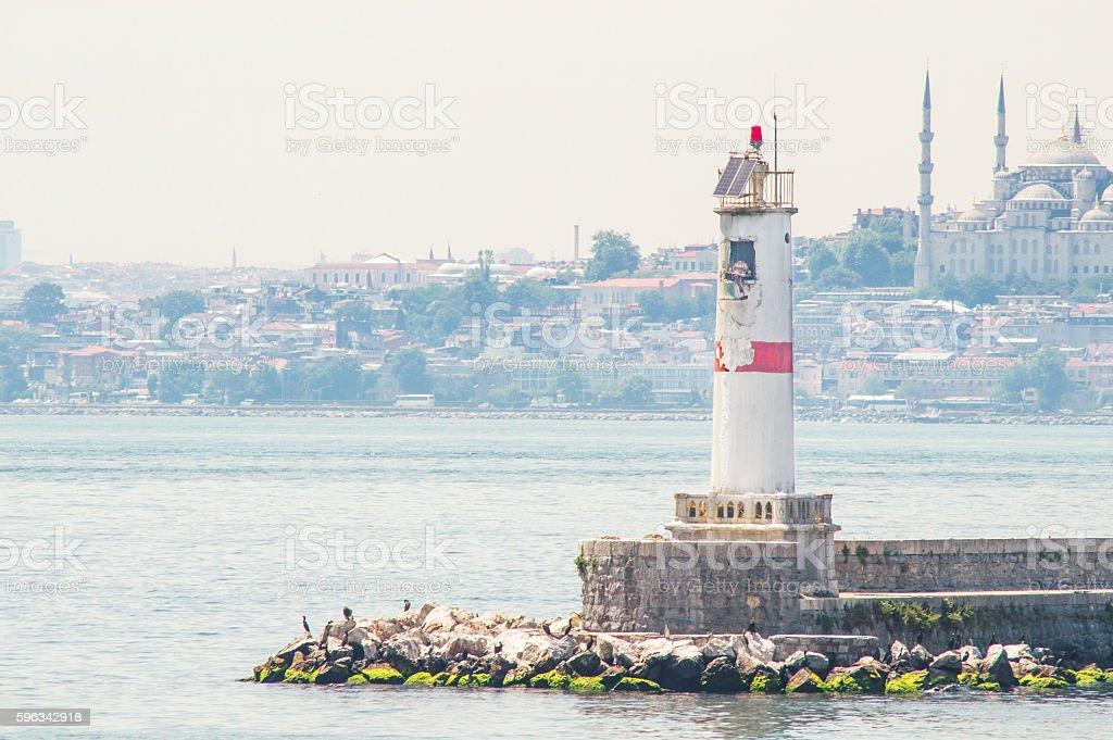 Lighthouse with Istanbul View Lizenzfreies stock-foto