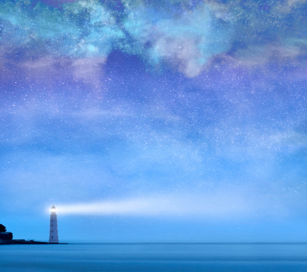 Lighthouse With Stars At Night Stock Photo - Download ...