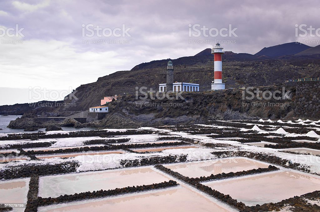Lighthouses at Punta Fuencaliente salines stock photo