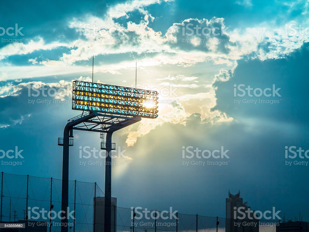 Lighting and the sun of the baseball field stock photo