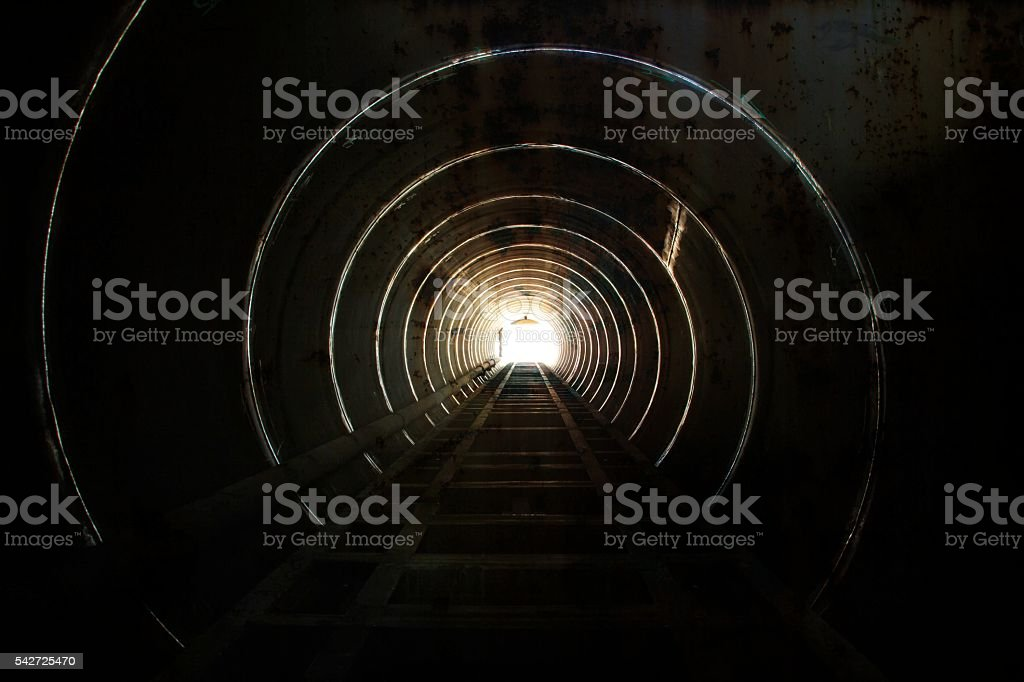 Lighting at the tunnel. stock photo