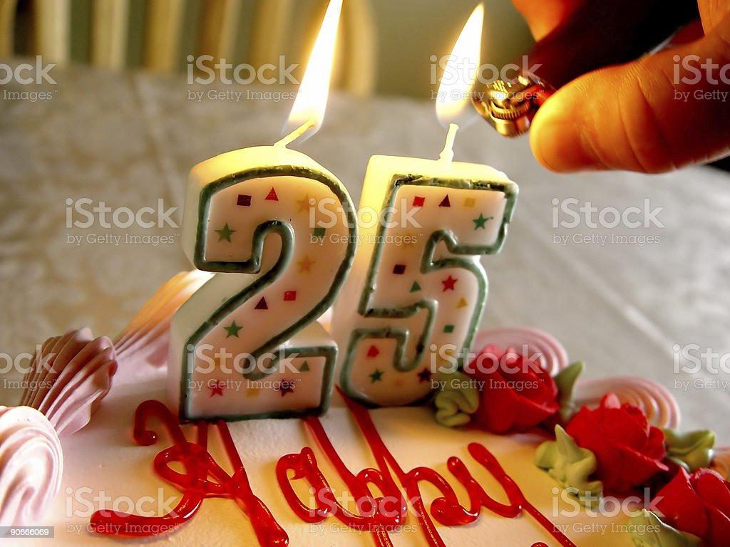 Lighting Birthday Candles 2 stock photo