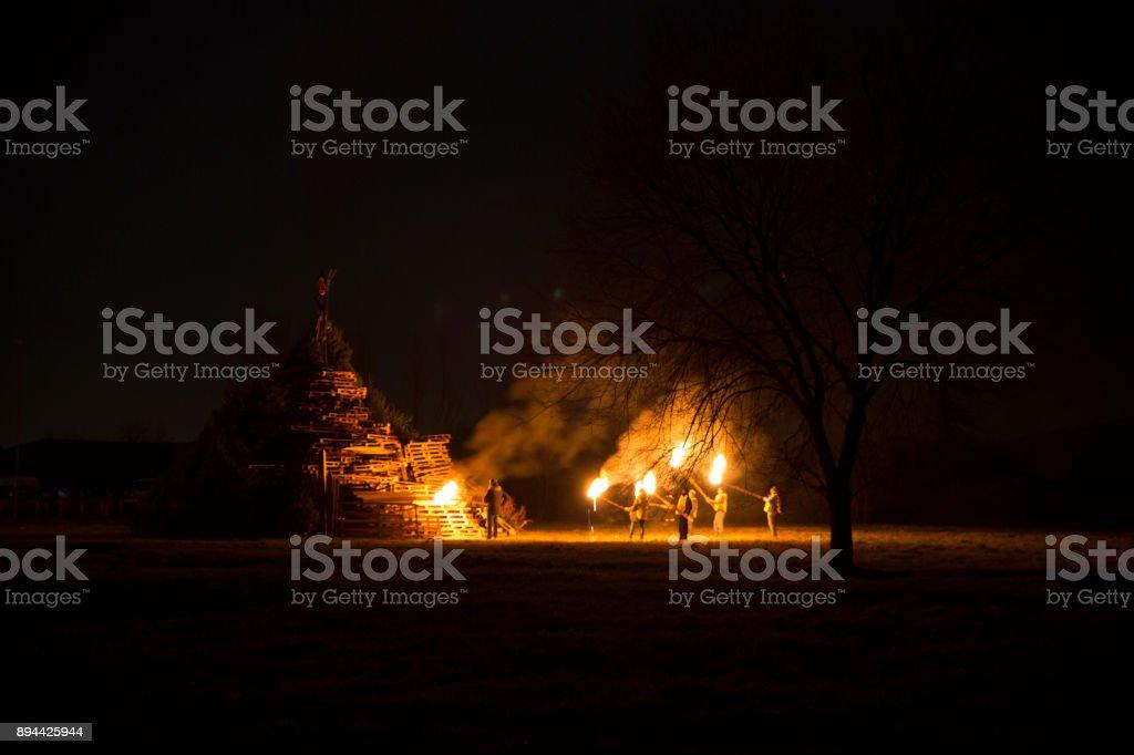 Lighting bonfire, Bafana, Italy stock photo