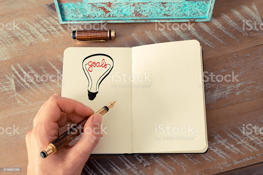 Lighting bulb as GOALS symbol and concept stock photo