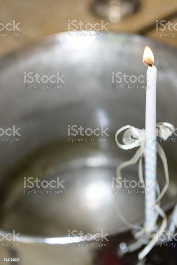 Lighting candle. stock photo