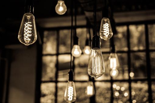 istock Lighting decor in restaurant for background 497447612