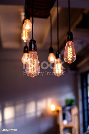 istock Lighting decor in restaurant for background 497447720
