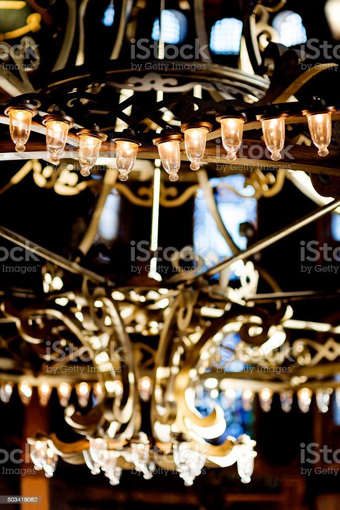 Lighting equipment in Hagia Sophia stock photo
