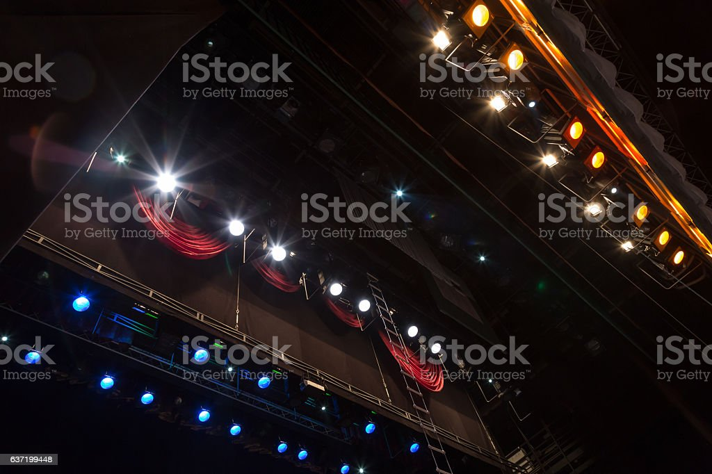 Lighting equipment on stage during a performance stock photo