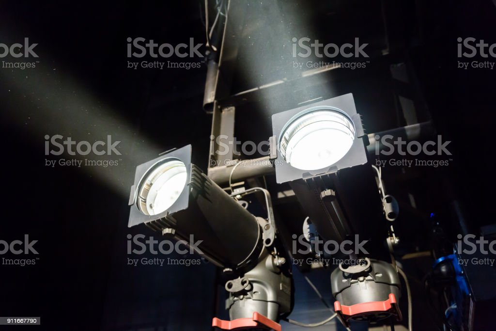 Lighting equipment on the stage of a theatre or concert hall. The...