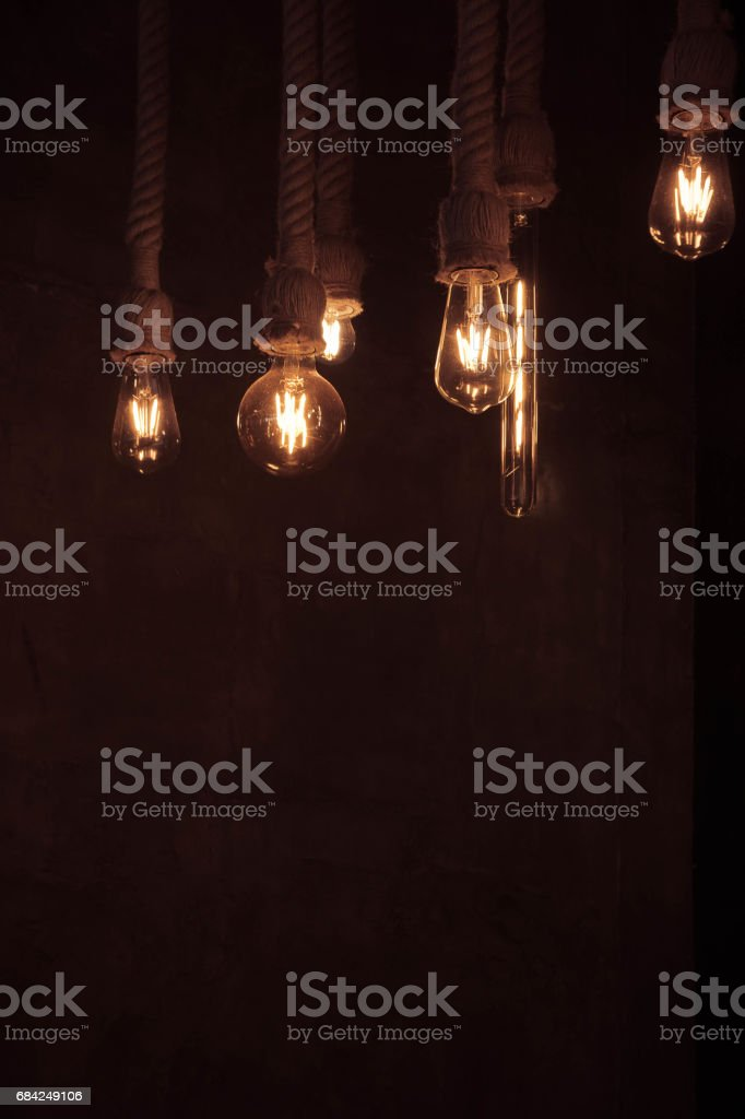 Lighting from a light bulb in a cafe royalty-free stock photo