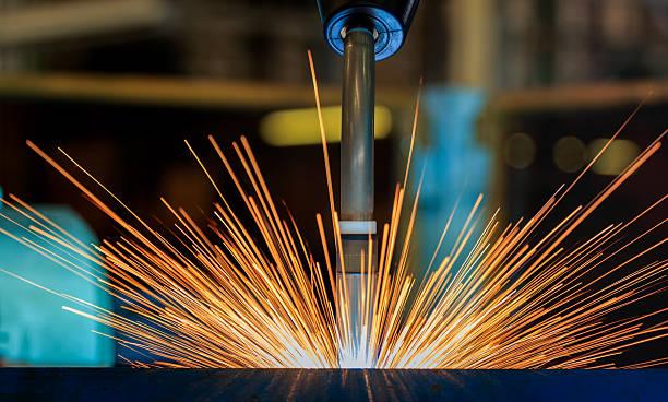 Lighting from robot welding. - foto de stock