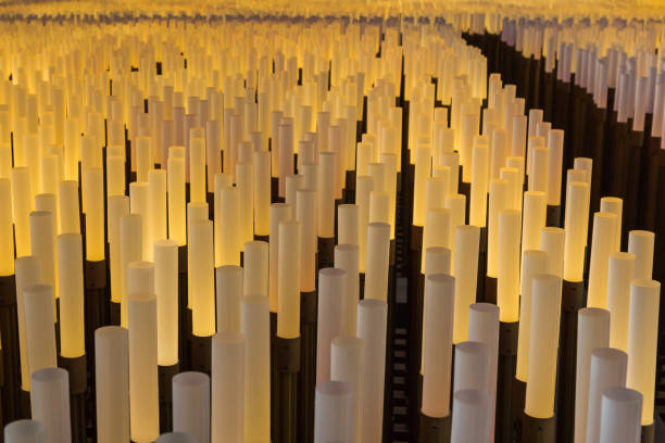 Lighting Installation For the 2015 Milan EXPO China Pavilion: Field of Hope stock photo