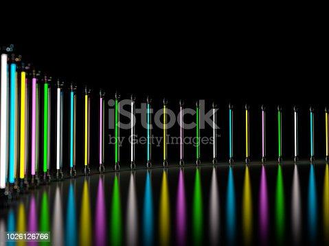 1029436214 istock photo Lighting light lamp neon tubes glowing in dark room. 3D 1026126766