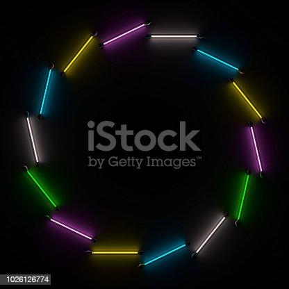 1029436214 istock photo Lighting light lamp neon tubes glowing in dark room. 3D 1026126774
