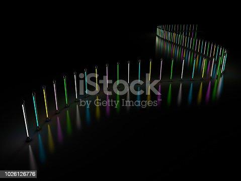 1029436214 istock photo Lighting light lamp neon tubes glowing in dark room. 3D 1026126776