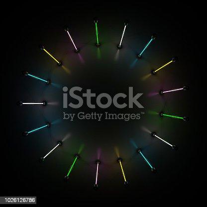 1029436214 istock photo Lighting light lamp neon tubes glowing in dark room. 3D 1026126786