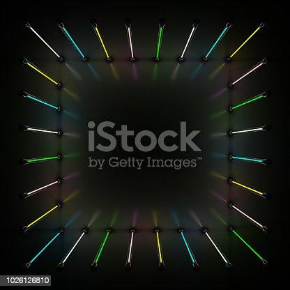 1029436214 istock photo Lighting light lamp neon tubes glowing in dark room. 3D 1026126810