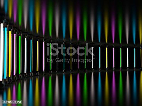 1029436214 istock photo Lighting light lamp neon tubes glowing in dark room. 3D 1029436220