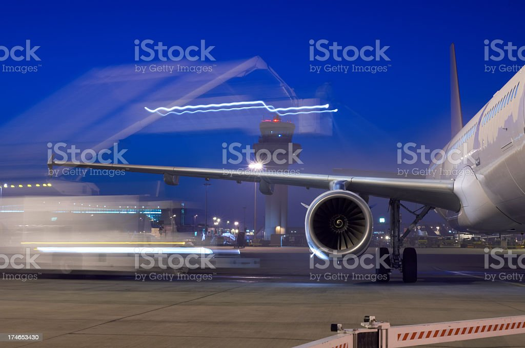 Lighting moving around a commercial airplane stock photo