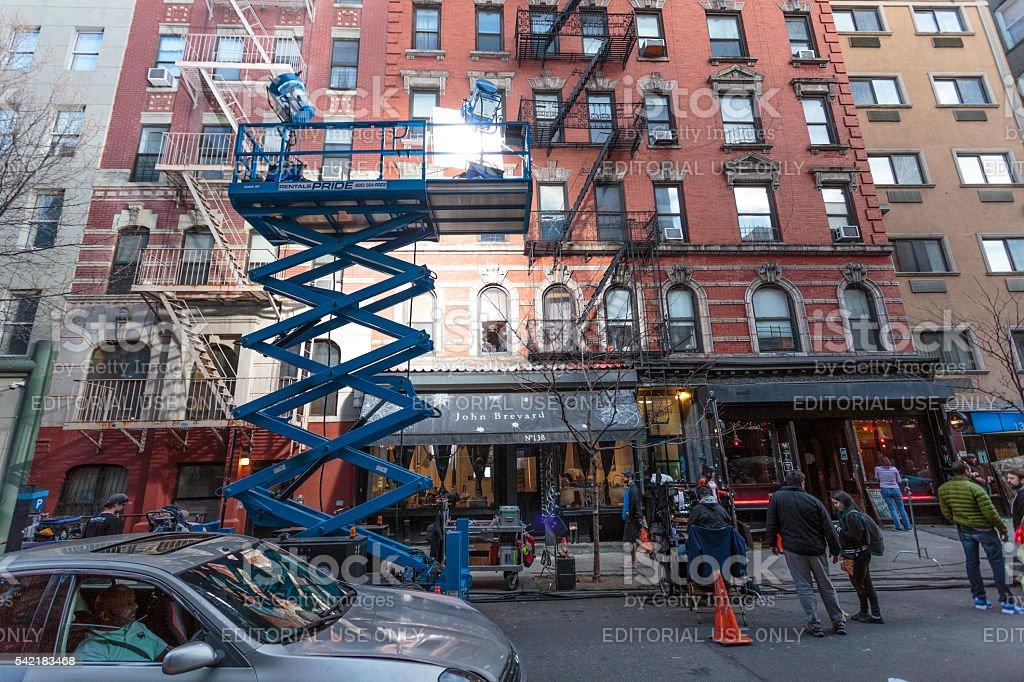 Lighting of filmset near Chinatown in New York City stock photo