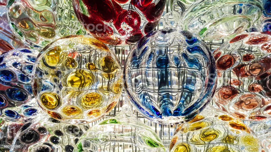 Lighting on the colorful crystal ball - foto de acervo