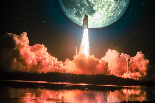 Lighting up the night sky, as well as the water nearby, spacship blazes into the moon mission. Huge moon is on the night sky surrounding by galaxy. Elements of this image furnished by NASA. stock photo
