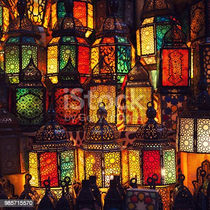 istock lighting with colors on muslim style's lantern 985715570