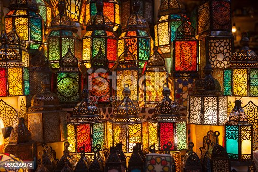istock lighting with colors on muslim style's lantern 989259978