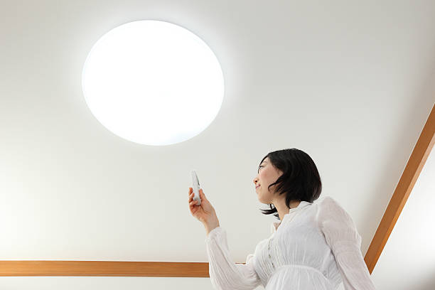 照明&女性 ストックフォト