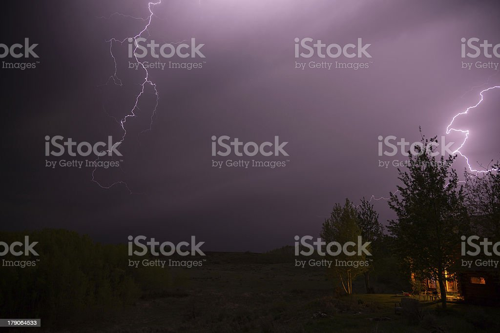 Lightning Above The Cabin royalty-free stock photo