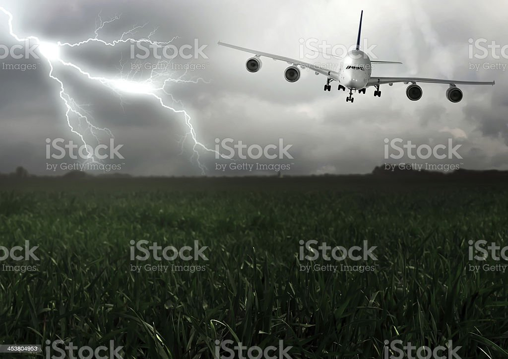 Lightning across and descend aircraft. stock photo