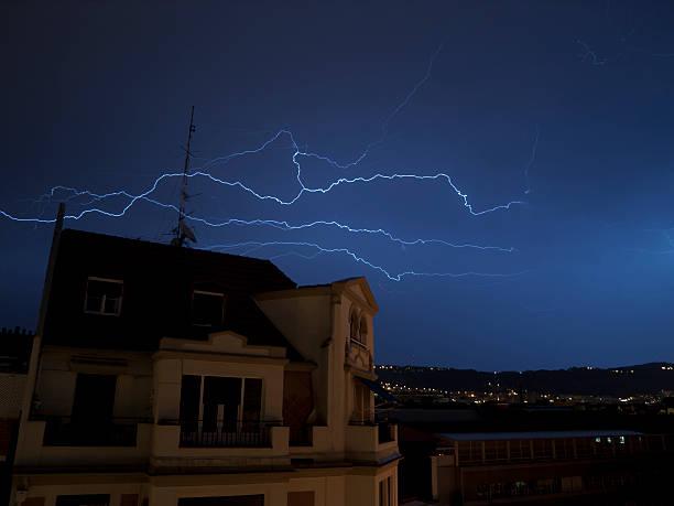 Lightning across Bilbao stock photo