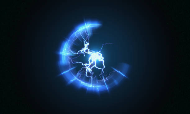 Lightning and bright light in energy ball with spherical plasma radiating electric rays. 3D rendered illustration. stock photo