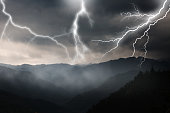 Lightning and mountains.