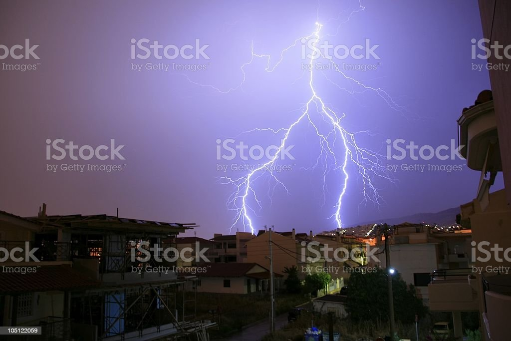 Lightning and thunder storm in Greece royalty-free stock photo