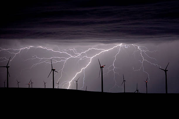 Lightning and windturbines stock photo