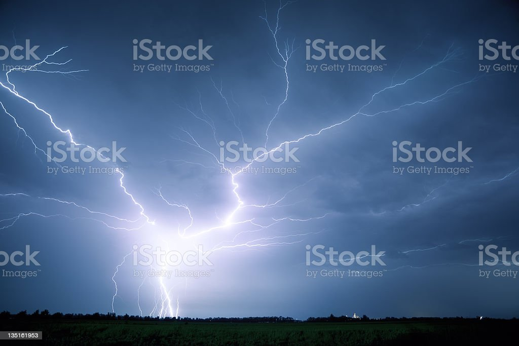 Lightning at Night royalty-free stock photo