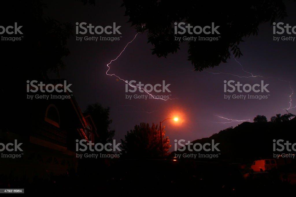 Lightning at Night stock photo